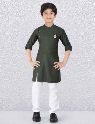 Bandhgala solid bottle green kurta suit