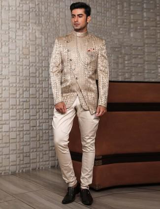 Bandhgala style beige hue jodhpuri suit