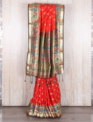 Bangalore silk orange wedding wear saree