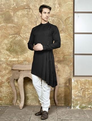 Basic black cotton fabric kurta suit