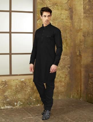 Basic black cotton pathani suit
