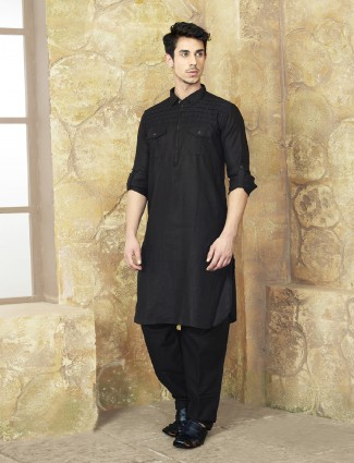 Basic black solid pathani suit in cotton