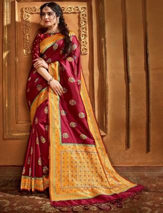 Beautiful banarasi silk saree in maroon