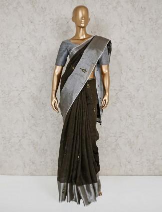 Beautiful black linen saree