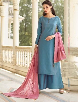 Beautiful blue hue cotton silk punjabi palazzo suit