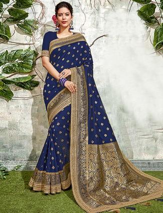 Beautiful blue hue saree in semi silk fabric