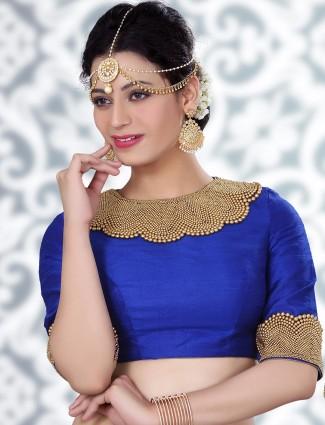 Beautiful blue raw silk ready made blouse