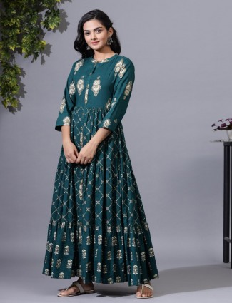 Beautiful bottle green kurti for festive
