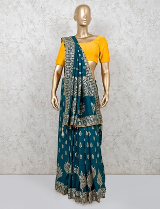 Beautiful green dola silk saree