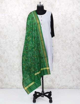 Beautiful green hue gajji silk dupatta