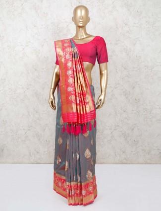 Beautiful grey dhup chhav dola silk saree