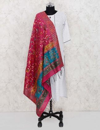Beautiful magenta color pashmina silk dupatta