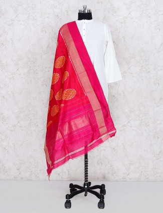 Beautiful magenta color silk dupatta
