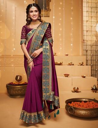 Beautiful magenta saree in raw silk