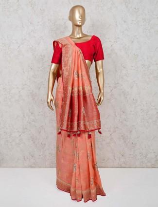 Beautiful muga silk peach saree in wedding occasion