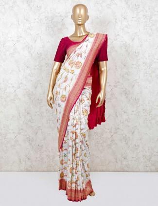 Beautiful muga silk wedding wear saree in white
