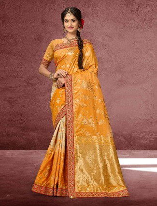 Beautiful mustard yellow banarasi silk saree