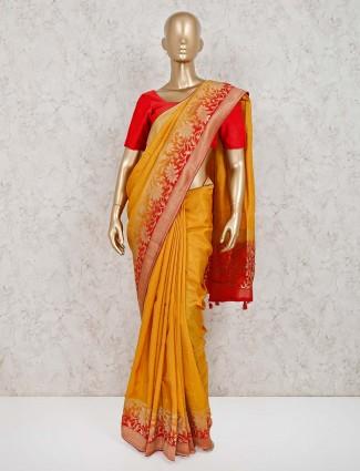 Beautiful mustard yellow muga silk saree