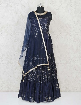 Beautiful navy cotton silk floor length anarkali salwar suit