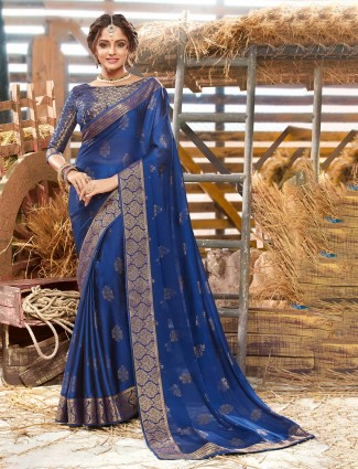 Beautiful navy georgette foil zari saree