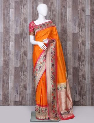 Beautiful orange color pure banarasi silk saree