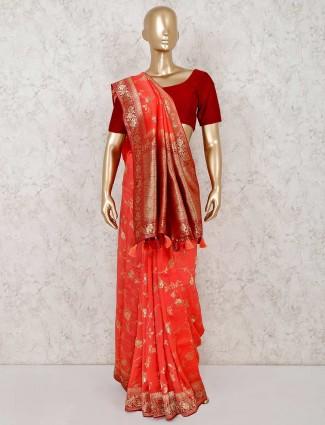Beautiful orange semi silk saree