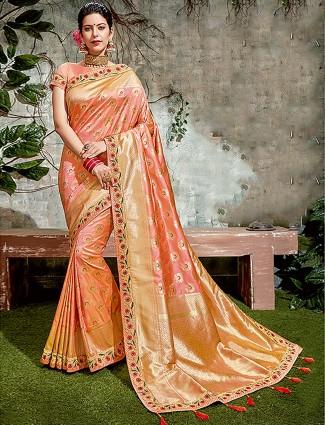 Beautiful peach color saree in semi silk