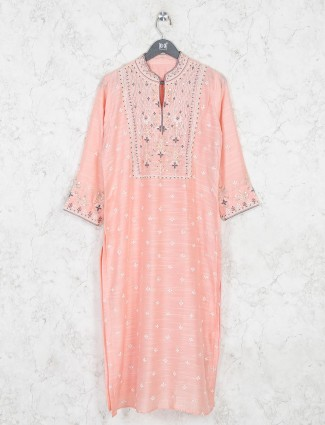 Beautiful peach cotton festive wear kurti