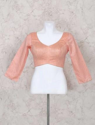 Beautiful peach silk fabric ready made blouse