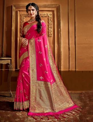 Beautiful pink banarasi silk saree