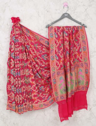 Beautiful pink bandhani saree for bride