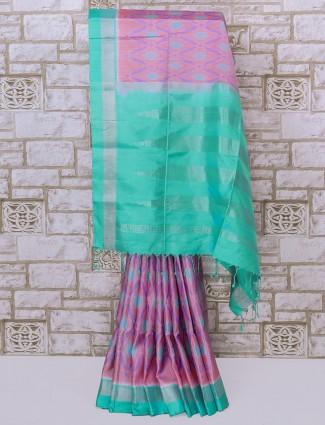 Beautiful pink color patola silk fabric saree