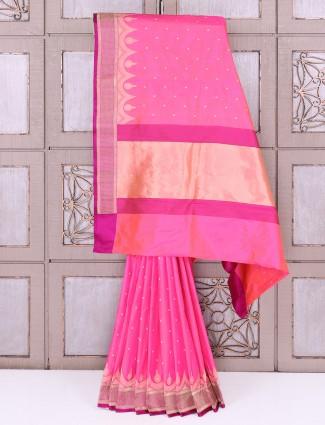 Beautiful Pink color silk fabric saree