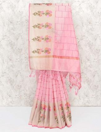 Beautiful pink cotton festive saree