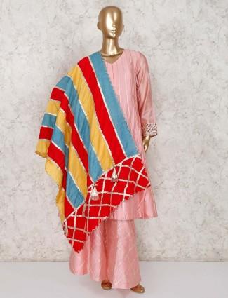 Beautiful pink cotton silk anarkali palazzo suit