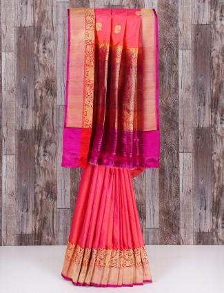 Beautiful pink silk classy saree