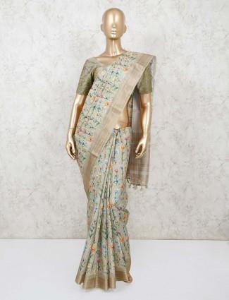 Beautiful pista green bhagalpuri silk saree with blouse piece