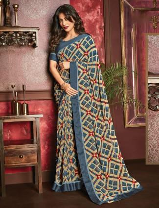 Beautiful printed navy georgette saree