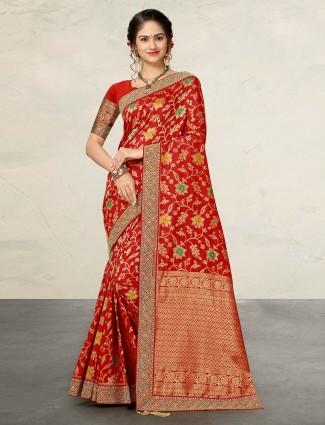 Beautiful red banarasi silk sari