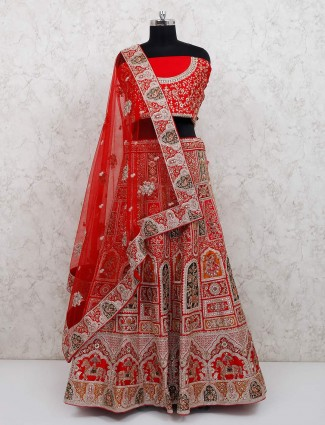 Beautiful red bridal wear silk lehenga choli set