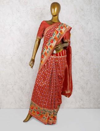 Beautiful red color bandhej wedding saree