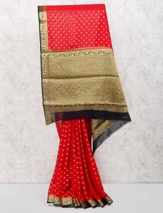 Beautiful red color georgette saree