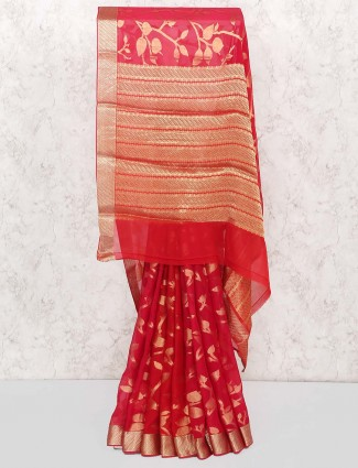 Beautiful red color pure georgette saree