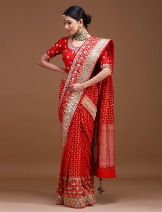 Beautiful red color pure silk wedding saree