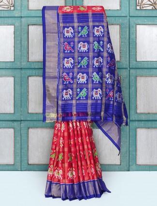 Beautiful red color silk fabric wedding saree