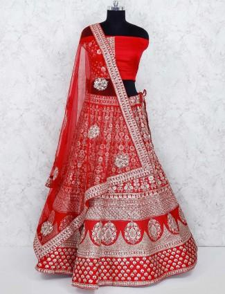 Beautiful red color silk semi stitched lehenga choli
