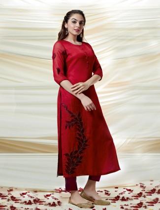 Beautiful red cotton silk kurti