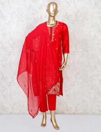 Beautiful red cotton silk punjabi pant suit