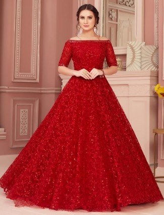 Beautiful red gown for bride in net