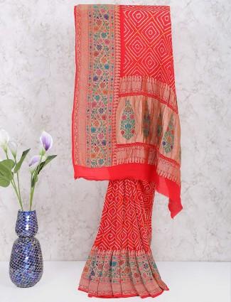 Beautiful red hue gharchola georgette wedding saree